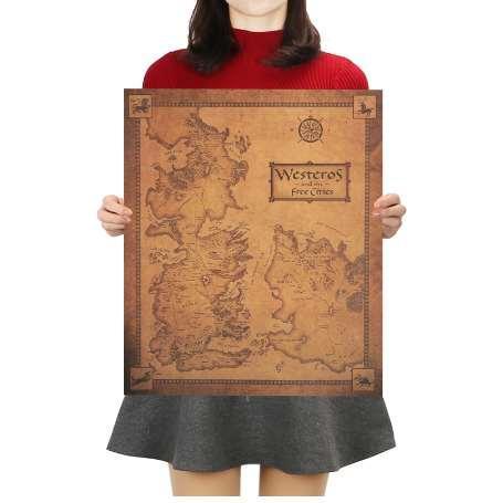 Game of Thrones Westeros Map Retro Kraft Paper Poster Interior Bar Cafe Decorative Painting Wall Sticker 42X36cm juego de tronos