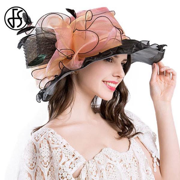 FS Retro Organza Sombrero de Sol Para Mujeres Elegantes Ala Grande Flor  Grande Verano Moda Ladies Beach Sombreros Mujer Verano Flores D19011103 5410d1a7aff