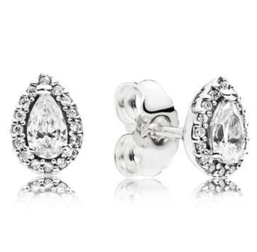Pernos prisioneros del pendiente original de 925 Pendiente de plata esterlina radiante en forma de lágrima con el cristal para joyería de las mujeres moda de la boda regalo