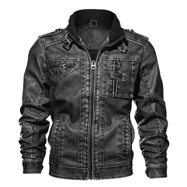 Cappotto del rivestimento di cuoio Nizza Maschio cappotti marchio di abbigliamento 7XL degli uomini di cuoio autunno Slim Fit Faux moto Giacche