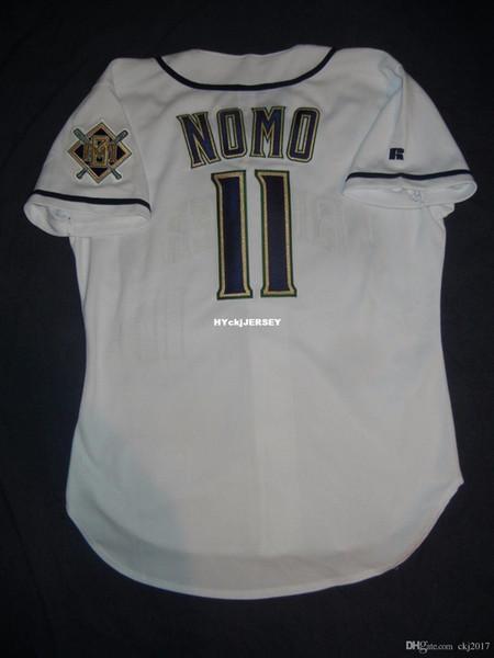 Retro barato Top Russell Athletic # 11 jerseys Hideo Nomo Milwaukee Branco Jersey Mens costurado beisebol