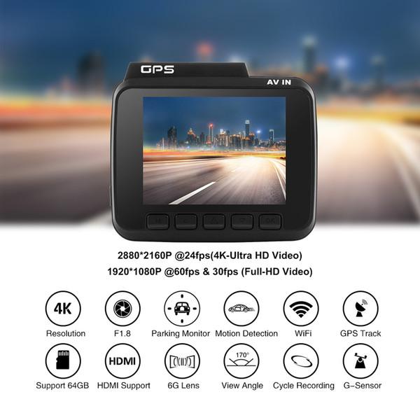 "2.4"" Auto Car DVR Recorder Dash Cam 4K Ultra HD touch screen GPS WiFi Dual Rear Lens Vehicle Camera Camcorder Rear View Camera"