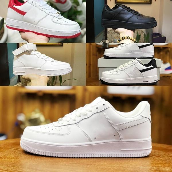 2019 Zorla Erkekler Kadınlar Low Cut Bir 1 Ayakkabı Beyaz Siyah Dunk Kaykay Ayakkabı Klasik AF Fly Tasarımcı Yüksek Örgü Hava Rahat Sneakers