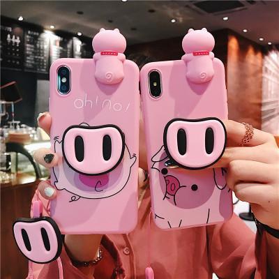 Fabrika fiyat Yeni Sevimli pembe domuz bebek kılıfı için İpi ile iPhone XS6 7 8 artı xs kickstand antifall kılıfları ile max Kapak