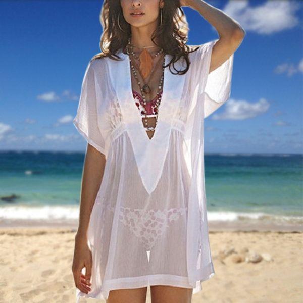 Sexy Women Chiffon Beach Transparent Cover Up Swimsuit Swimwear Short Sleeve Deep V Neck Shirt Dress Bathing Bikini Cover-up