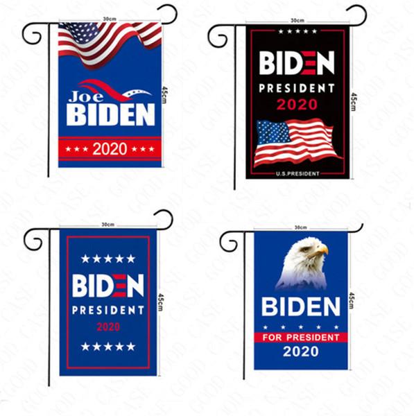 best selling 30*45CM US Biden Trump Garden Banner 2020 USA Flag Garden Flags Hand Stick Flag American Flags Biden Supporter Home Decoration Banner D61602
