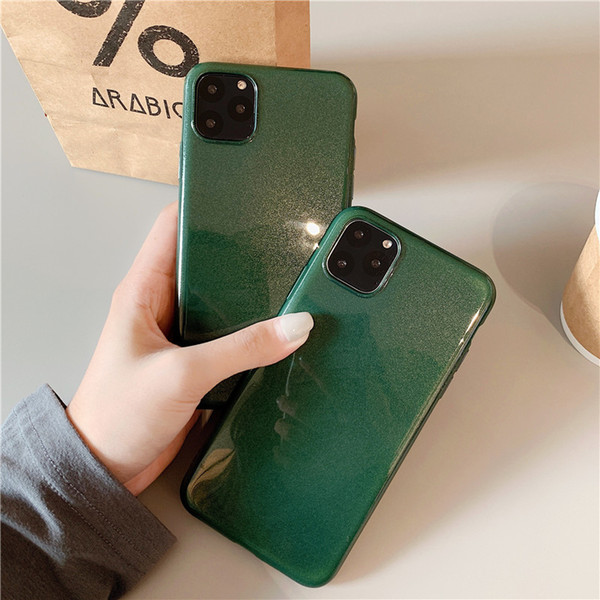 For IPhone 11 Pro Max Simple Gold Plating Cover For X XR XS Max 7 8 Plus  Case INS Luxury Jade Green Solid Color Mobile Phone TPU Soft Shell Leather