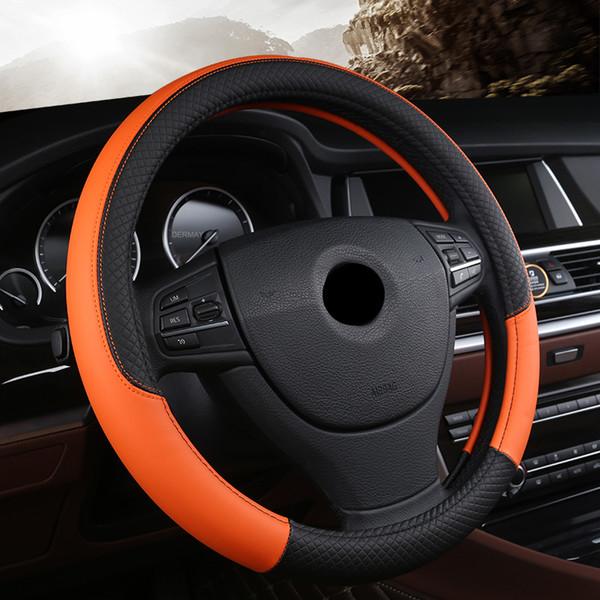 Trenza de cuero genuino Cubierta del volante Cubiertas de trenzado de automóvil en el volante para accesorios interiores del automóvil 15 pulgadas