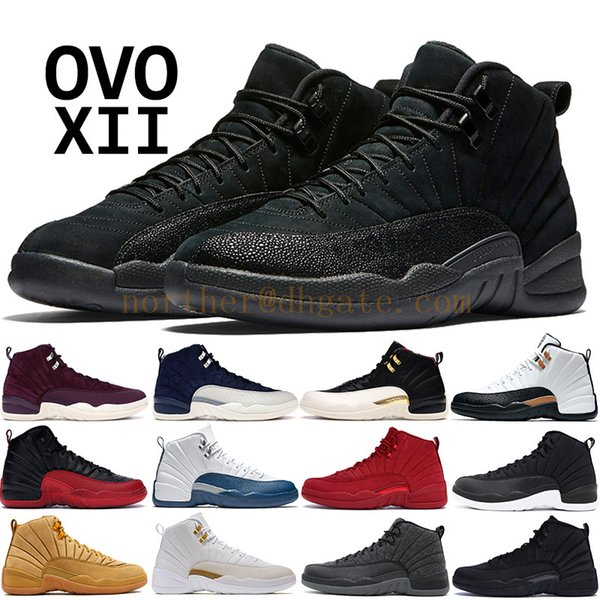 2019 CNY OVO PNSY 12 12s Basketball shoes men CP3 Flu Game Gym red Wings Sneakers mens PRM Bordeaux Dark Grey Designer trainers