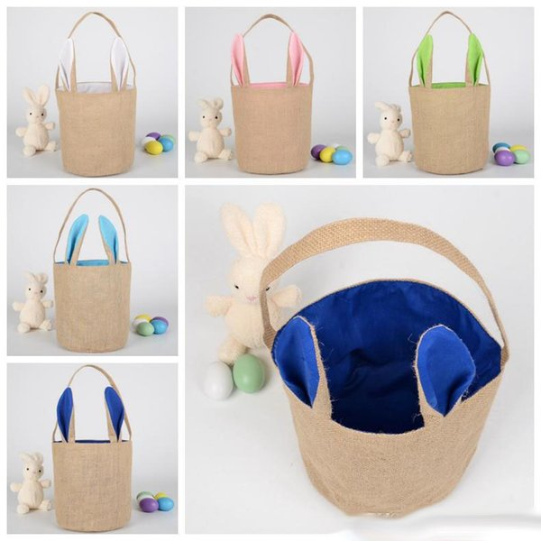 top popular Burlap Easter Baskets Personalized Easter Bunny Buckets Bunny Ears Bucket Gift Bag Egg Organizer 5 Colors Free Shipping 2019