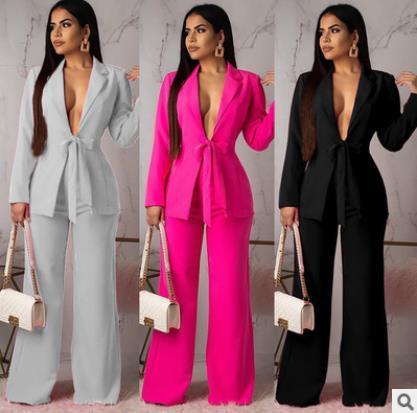 Novo Blazers Gravata Terno Sólido Simples Mulheres Calças Ternos Conjuntos de Duas Peças Fino Casaco Longo Calças Femininas de Alta Qualidade Senhora Terno