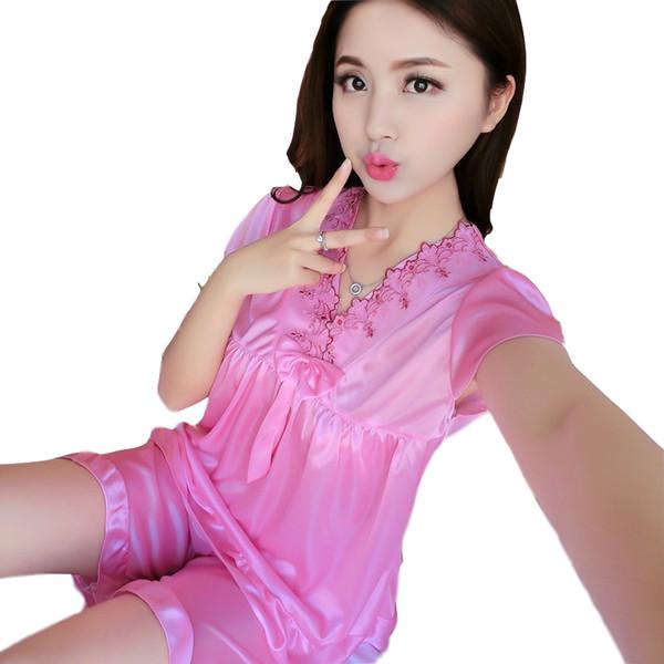 Femmes Pyjama Ensembles à manches courtes avec un short en satin de soie broderie Pyjama 2018 Nouveau Bow nuit d'été Femmes Pyjama 87754