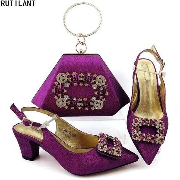 Zapatos a juego nuevo color púrpura italianos y zapatos empaqueta el sistema africano italiano boda y bolso fija zapatos de las señoras del resorte mujeres de la plataforma