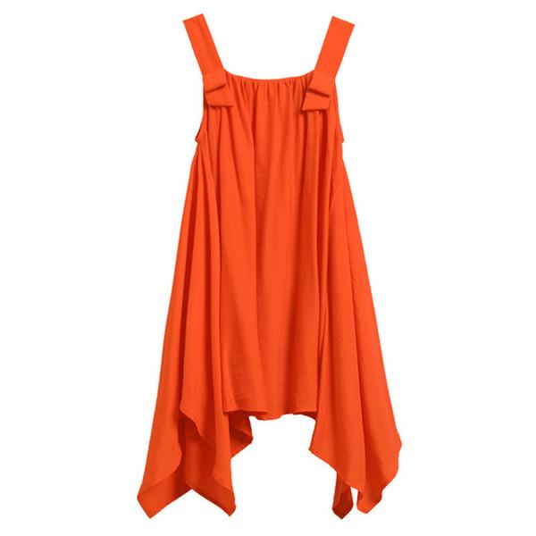 4 ila 14 Yıl Çocuklar Genç Kız Yaz Katı Turuncu Asimetrik Rahat Plaj Elbise Çocuk Kız Moda Yelek Elbiseler giyim J190620