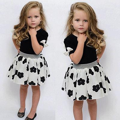 2016 Baby Girls Clothing Sets Summer Bow Short Sleeve T shirt + Floral Skirt Outfit Children Clothing Kids Clothes