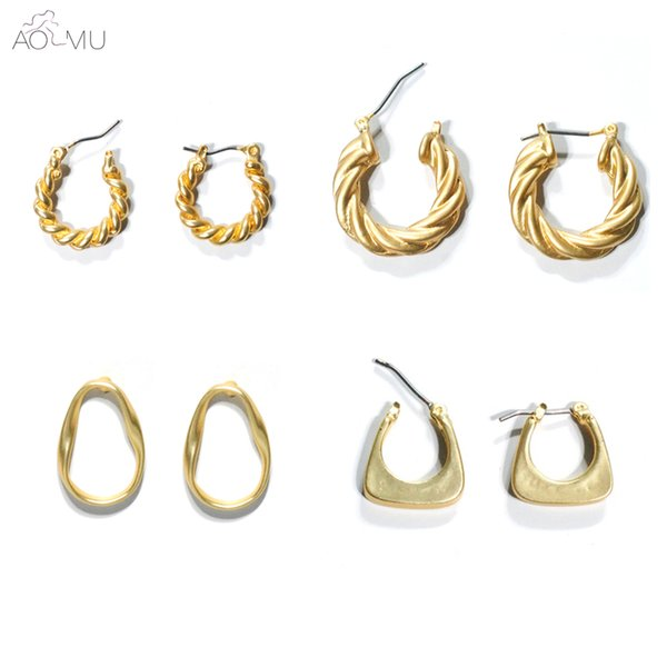 AOMU 2019 New Metal Gold Geometric Twisted Hollow Round Circle Irregular Teardrop Big Pearl Stud Earrings for Women Party Jewelr