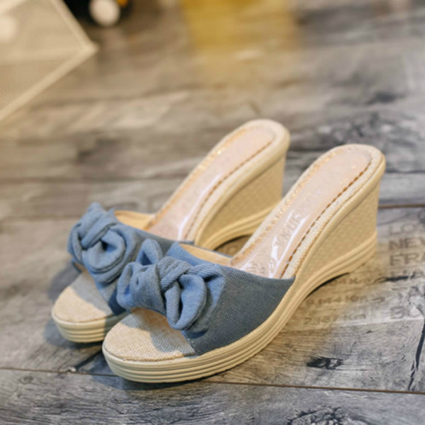 Весна и лето новые сандалии, Кексы, толстой подошвой, Student Lady сандалии, лук галстук, Solid Tone Thong