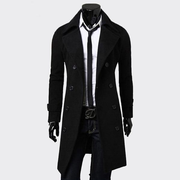 Herren Trenchcoat Fashion Men Lange Kleidung schwarz Zweireiher Winddicht Slim Trenchcoat Herren Plus Size Top Blazer Jacke