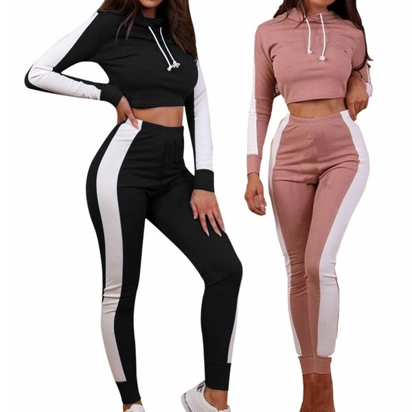 CALOFE 2018 Autumn Women Yoga Set Tracksuit Patchwork Full Sleeves Hoodie Yoga Pants Two Piece Set Sportswear Running Suit Z25 #103936