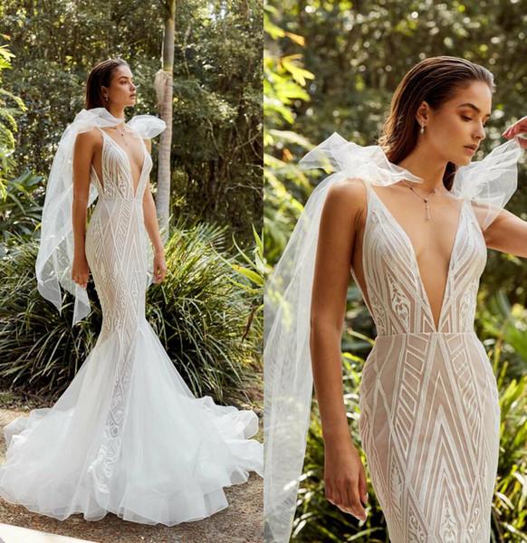 2019 Elie Saab Mermaid Wedding Dresses Deep V Neck Bow Strap Sweep Train Lace Bridal Gowns Custom Made Plus Size Wedding Dress