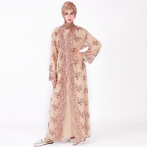 Moda Kadın Müslüman Sequins Cape Bayan Dantel Dikişsiz Deaigner Hırka Casual Kadın Nakış Ceket