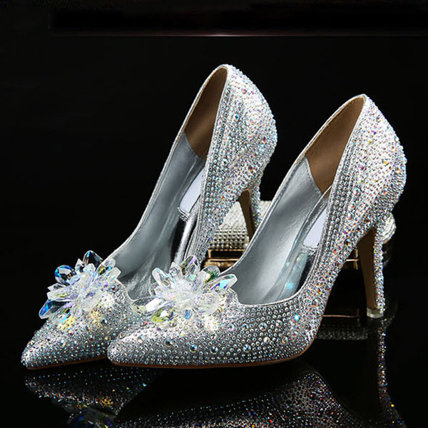 Hot Sale-Fashion Week Celebrity Top Grade Cinderella Crystal Party Shoes Bridal Rhinestone Wedding Shoes With Flower Woman Thin High Heels