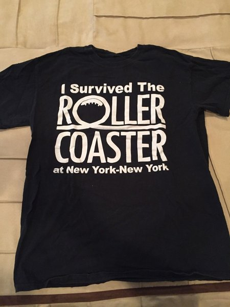 "Las Vegas ""I SURVIVED THE ROLLER COASTER AT NEW YORK-NEW YORK"" Black Tee ShirtBrand shirts jeans Print"
