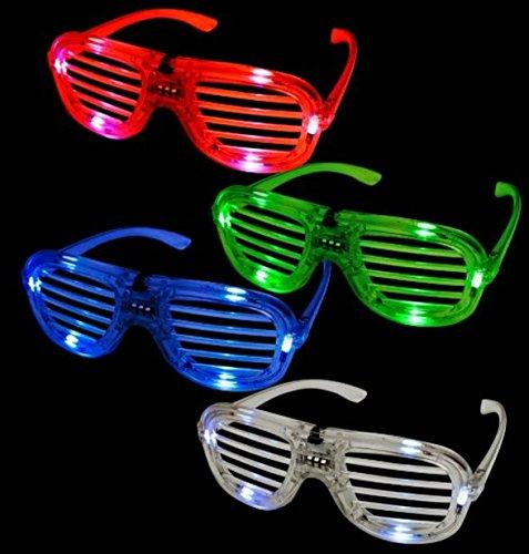 Knight LED Flashing Light Up Glasses Slotted Shutter Shades New