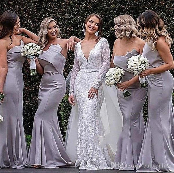 Cheap Mermaid Bridesmaid Dresses Strapless Pleats Floor Length Wedding Guest Dress Maid of Honor robe robes de demoiselle d'honneur