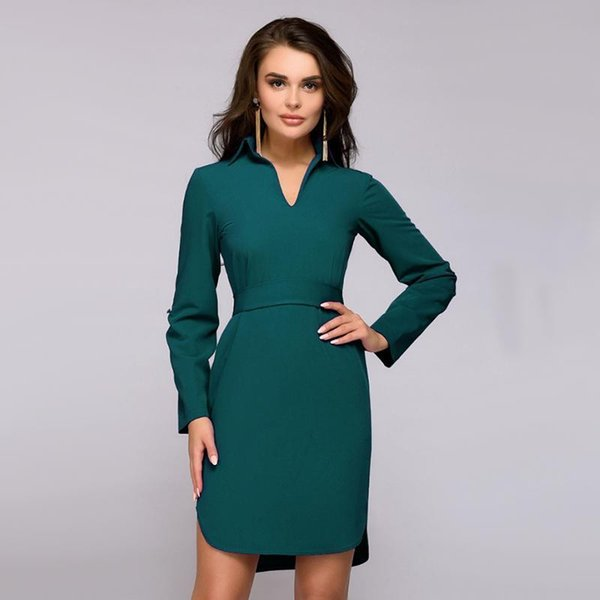 Office Lady Straight V-neck Dress Nice Autumn Fashion Classic Full Sleeve Sashes Dress Elegant Women Solid Button Short Dresses