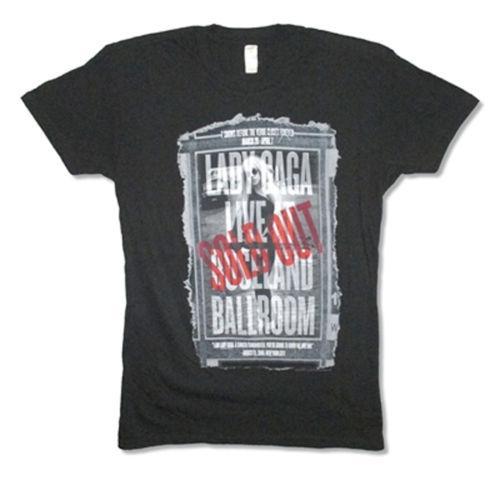 Lady Gaga-Finalshow Roseland-Rough Edge Banner-Schwarzes T-Shirt Lustiges Geschenk Kurzarmshirts Rundhals Oansatz 100% Baumwolle Hohe Qualität