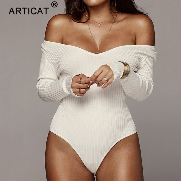 Articat Off Shoulder Ribbed Knitted Sexy Bodysuit Women Black V Neck Summer Rompers Womens Jumpsuit Basic Playsuit Womens Tops T4190608