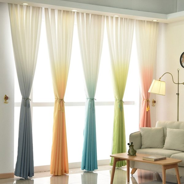 Jarl Home Semi Blackout Sheer Curtains Design Panel Fashion Living Room  Window Drapes Gradient Color Curtain Sheer Kitchen Curtains Brown Sheer ...