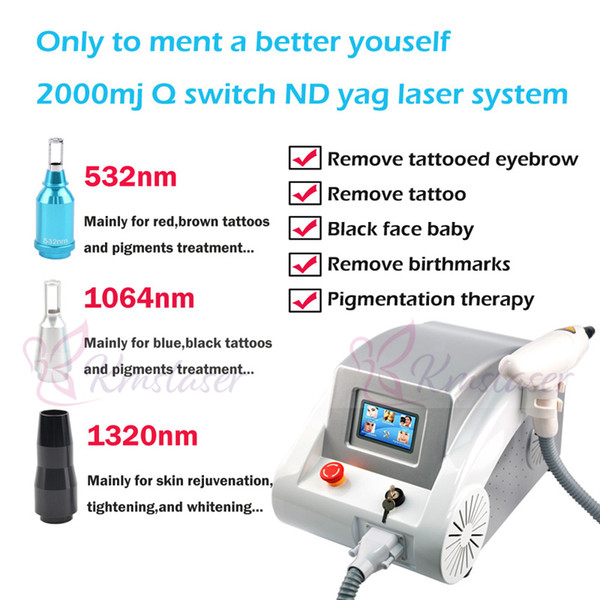 Best selling portable tattoo removal laser machine q-switch nd yag laser Tattoo Removal Treatmnet Indicator of Aiming Light Available
