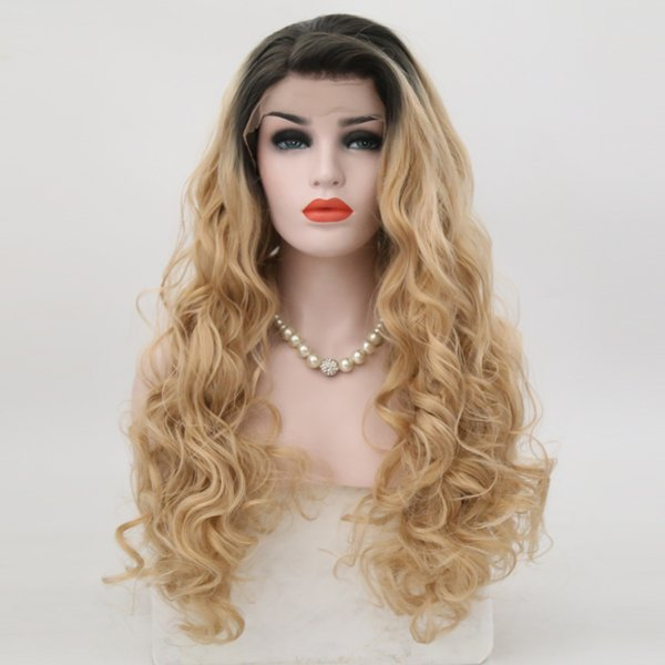 Blonde Wig Long Wavy Synthetic Lace Front Wigs For Women Dark Root Ombre Ash Blonde Natural Hairline Replacement Wigs