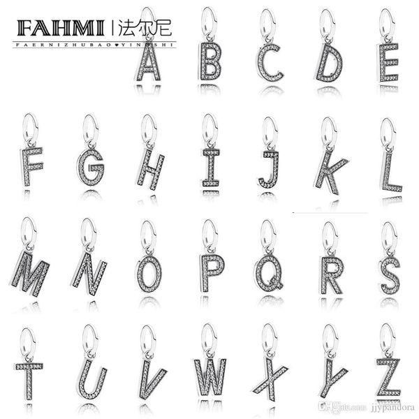 FAHMI 100% 925 Sterling Silber Glamour Elegant Retro Damen Original 26 Buchstaben Anhänger