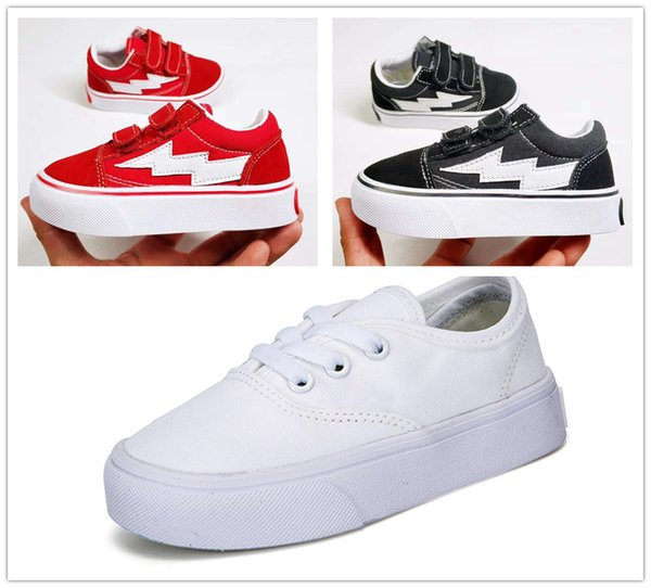 2018 New children shoes infant classic old skool boys girls black white red baby kids canvas skateboard sport sneakers 22-35