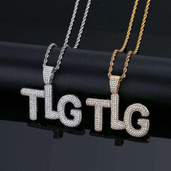 hip hop capital letter TLG pendant necklaces for men western luxury letters pendants 18k gold plated copper zircons chain necklace jewelry