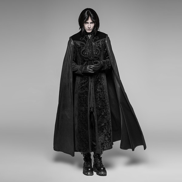 PUNK RAVE Gothic Night Count Cloak Men Clothes Halloween Party Christmas Long Coat Embossed Velvet Jacket Outwear