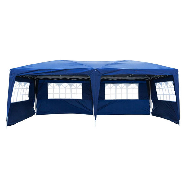 3 x 6m Four Windows Practical Waterproof Folding Tent for Parking Shed camping or picnic Blue