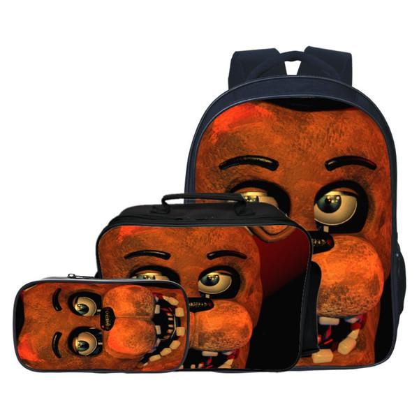 3шт пять ночей в рюкзаке Фредди + сумка для завтрака + пенал сумка на плечо ребенок студенты обратно в школу мультфильм подарок