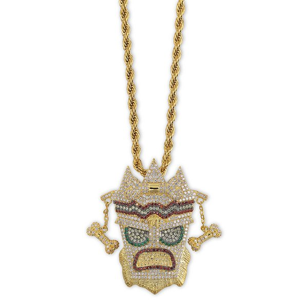 New Iced Out Mask Solid Pendant Necklace Mens Personalized Micro Paved Hip Hop Gold Silver Color Bling Charm Chains Jewelry