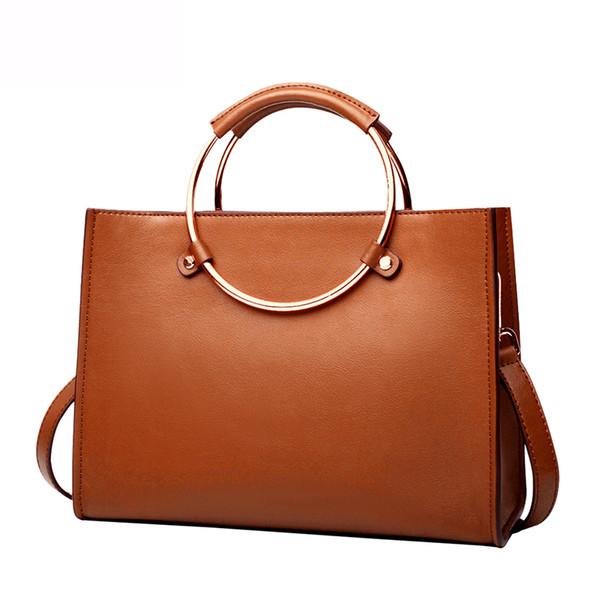 Women Real Leather Circle Handle Tote Purse Top Handle Handbag Cross Body Messenger Bag Vertical or Horizontal for Choice