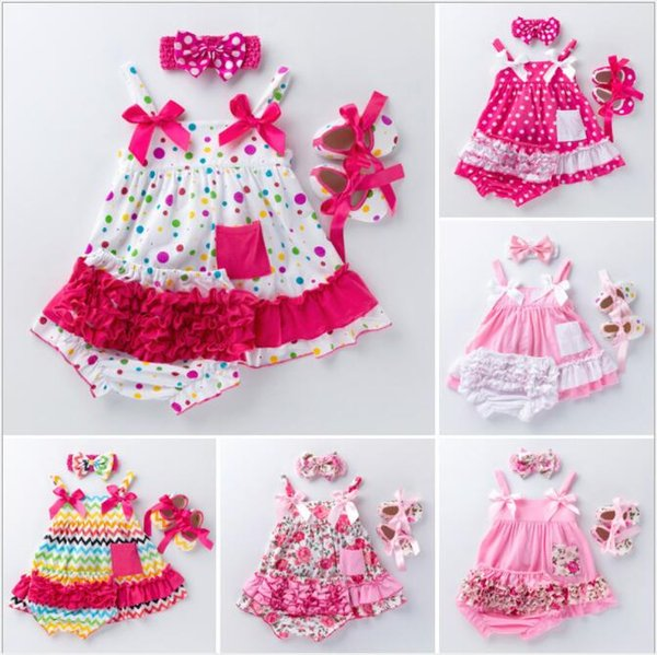 INS babies floral clothing set kids designer clothes girls infant vintage outfits suspender tops+tutu shorts+headband 3pcs suit BY0908