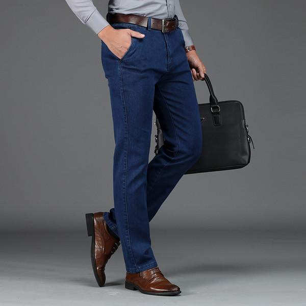 Marken Herren Jeans Hochwertige Gerade Regular Fit Blue Denim Hosen Herren Fashion Casual Business Jeans Herren Plus Size 42 Overalls