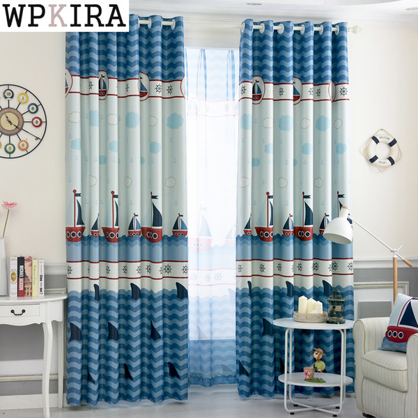 2019 Finished In The Mediterranean Sails Boat Cartoon Children\'S Bedroom  Floor Floating Curtains For Kids Boys Fabric Curtain From Qygw_home, $27.09  | ...