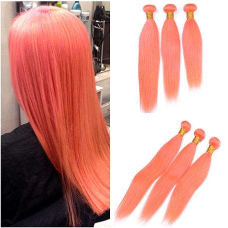Malaysian Virgin Human Hair Orange Colored Straight Weave Bundles 3Pcs Lot Pure Orange Human Hair Weft Extensions Silky Straight Hair Weaves