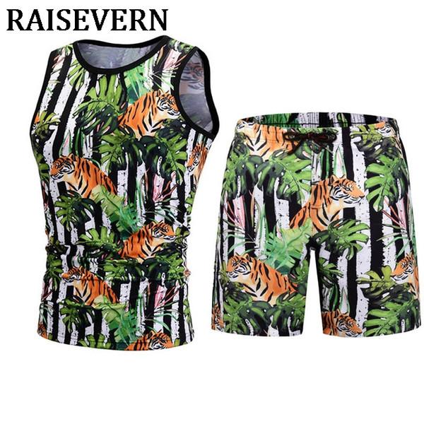 Tiger Tank Tops+Board Shorts Casual Summer 3D Men Elastic Waist Beach Shorts Sleeveless 3D Vest Men's Clothing 2PCS Men Sets