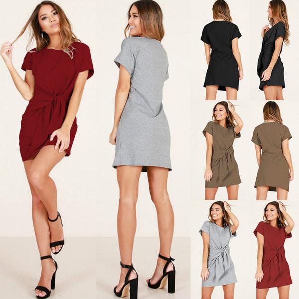 Femmes T-shirt Dress Loose Slim Fit Strap D'été Coton Occasionnel Oversize Poches Lâche Tunique Dress Femmes Robes Maxi pour