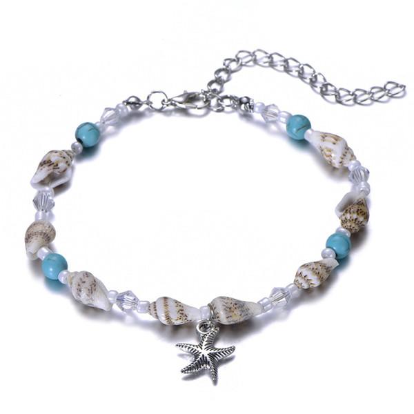 Starfish Pendant Anklets 2019 For Women New Stone Beads Shell Anklet Bohemian Bracelets On Leg BOHO Ocean Jewelry Gift